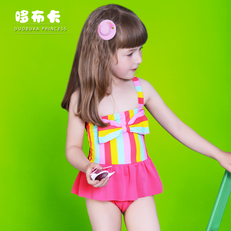 4c43a3de68 Get Quotations · 2016 new children s piece swimsuit korean girls swimsuit  cute little girl gong master rainbow striped swimsuit