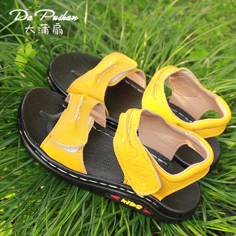 2016 new children's shoes boys summer sandals korean comfort soft bottom tide male big boy leather sandals beach shoes