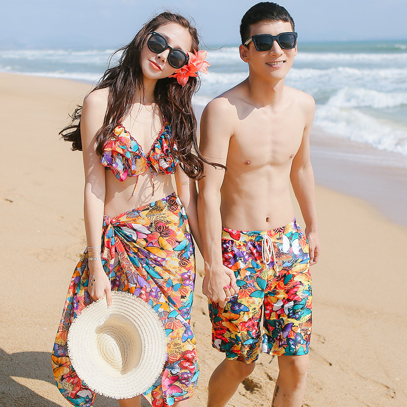 2016 new couple swimsuit bikini steel prop gather three sets of female swimsuit small chest comfortable male beach pants