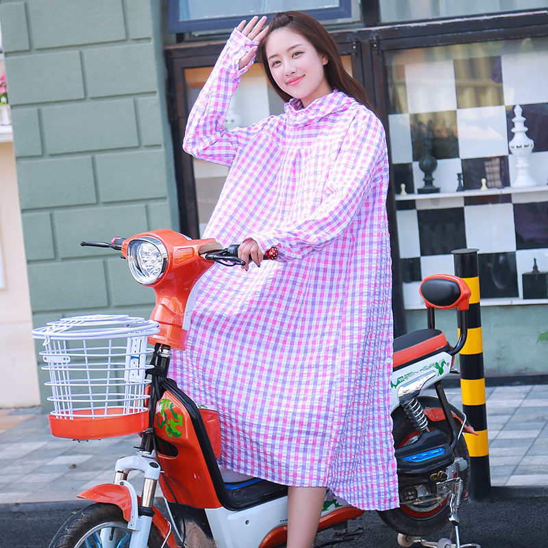2016 new electric car sun protection clothing female summer cycling uv sun shade shawl korean thick plaid cotton