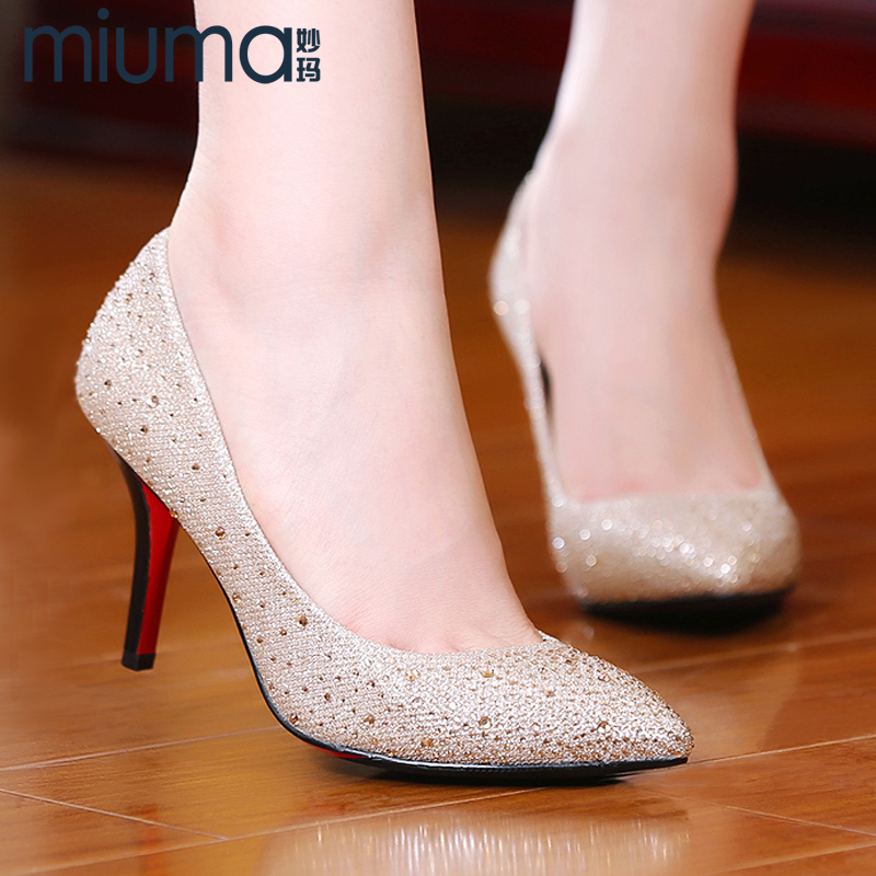 2016 new european and american diamond pointed shoes with high heels rhinestone crystal wedding shoes shallow mouth shoes commuter shoes