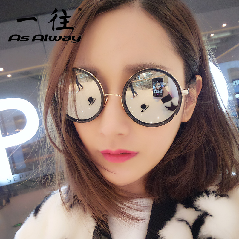 2016 new european and american fan thick metal frame round frame sunglasses retro sunglasses color film sunglasses tide