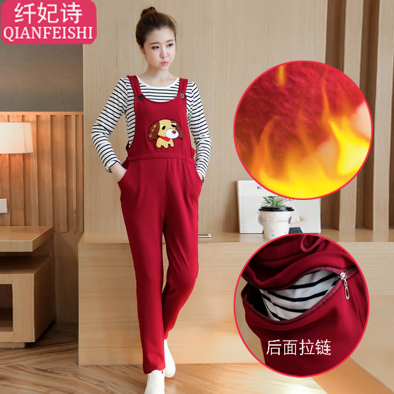 2016 new fall and winter clothes korean fashion plus velvet pregnant women pregnant bib overalls maternity pants for pregnant women winter outer wear trousers