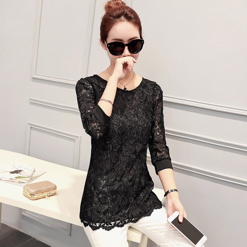 2016 new fall openwork lace sleeve shirt slim version of the korean version of the solid color round neck bottoming shirt lace shirt
