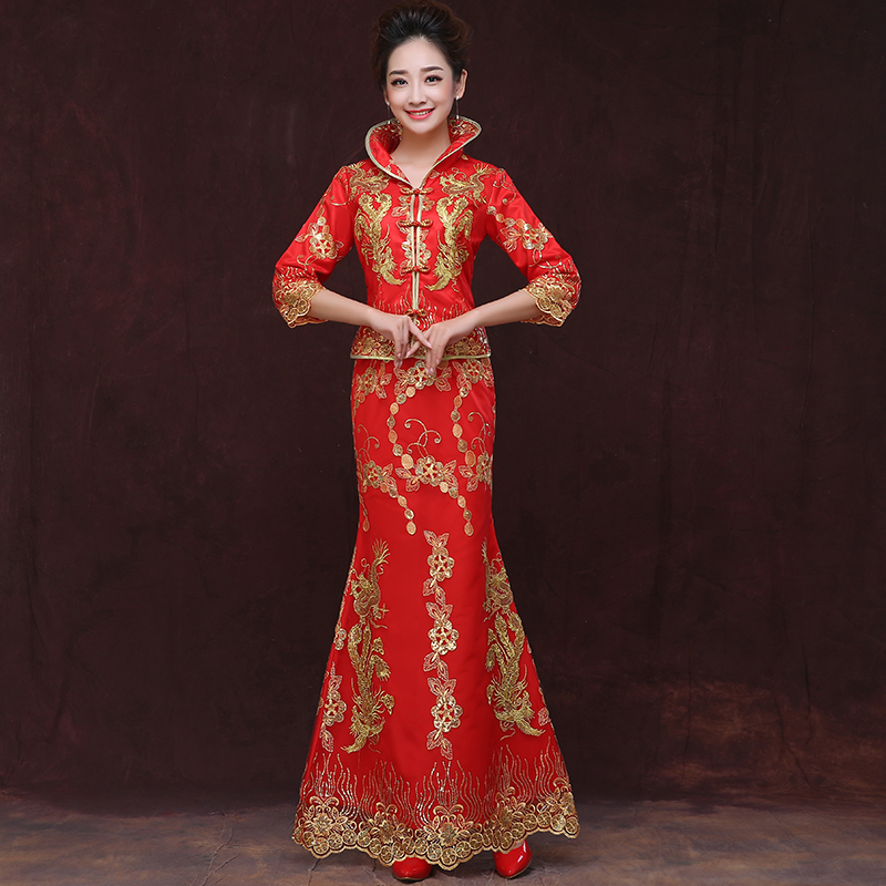 2016 new fall sleeve cheongsam bride toast red fishtail dress chinese wedding dress long paragraph slim female