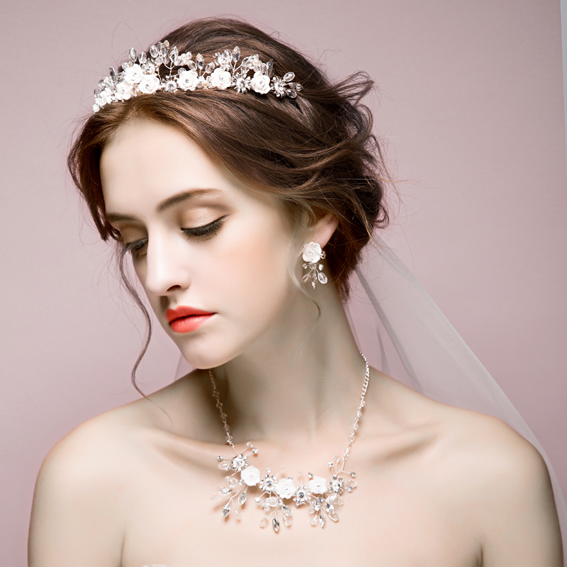 2016 new fashion diamond bridal tiara crown necklace 2 piece fitted wedding hair accessories bridal headdress ornaments