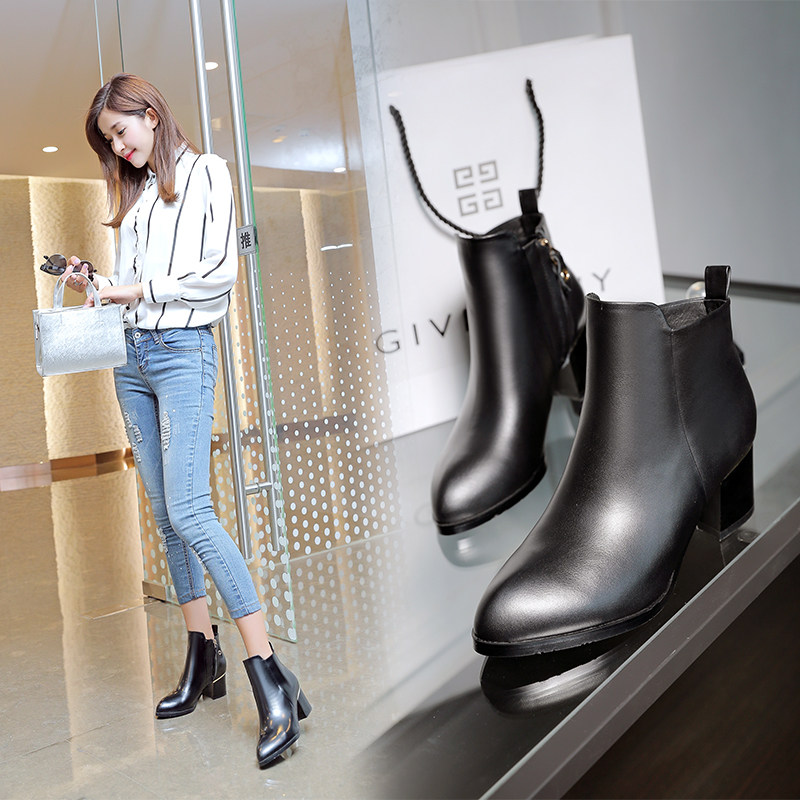 2016 new fine with pointed boots thick with female autumn and winter boots martin boots with leather boots naked boots casual korean version of the ride hundred