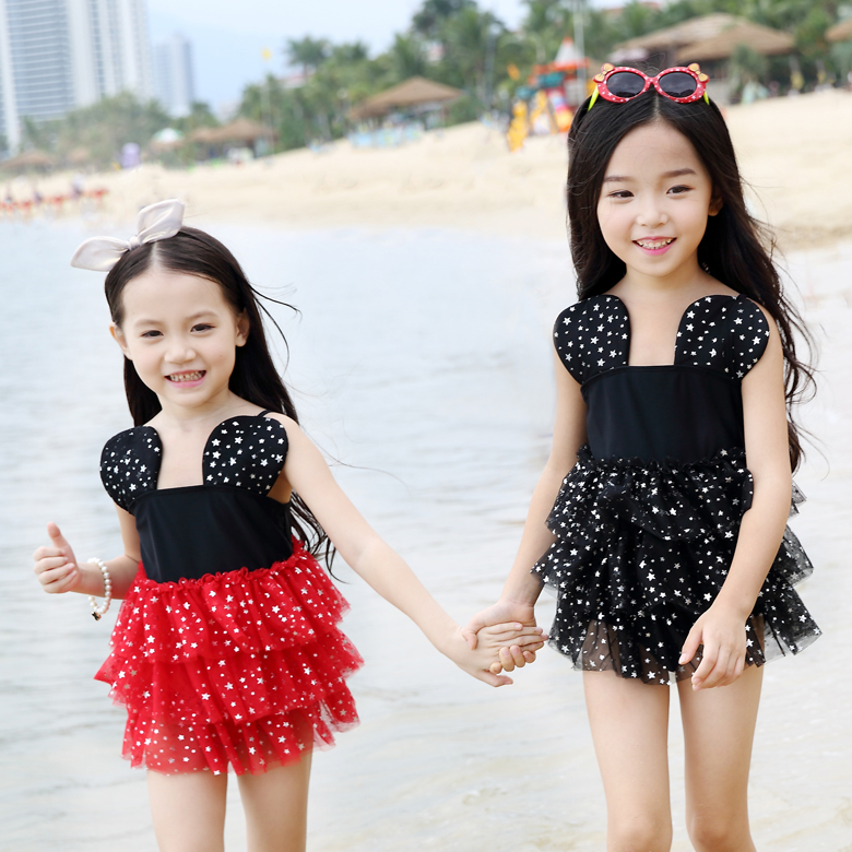 2016 new girls skirt piece swimsuit children cute polka dot princess resort female baby swimwear free shipping