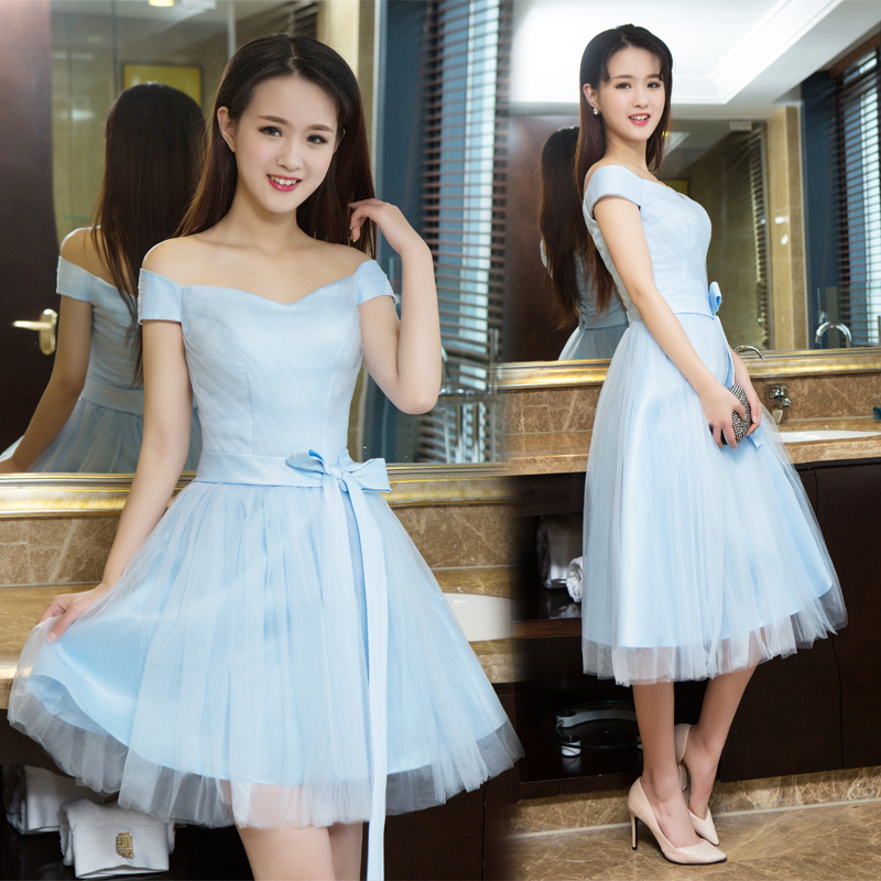 2016 new group bridesmaid dress bridesmaid dress short paragraph sister skirt bridesmaid dress evening dress korean version of slim was thin