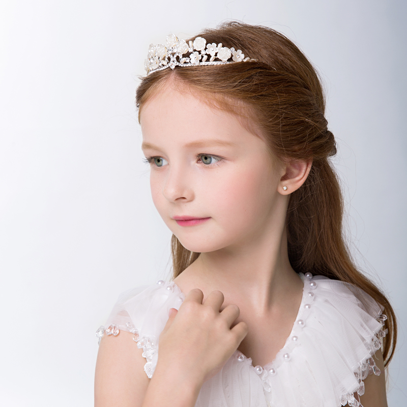 2016 new korean exquisite fashion jewelry princess tiara crown rhinestone hair accessories for girls children wedding accessories