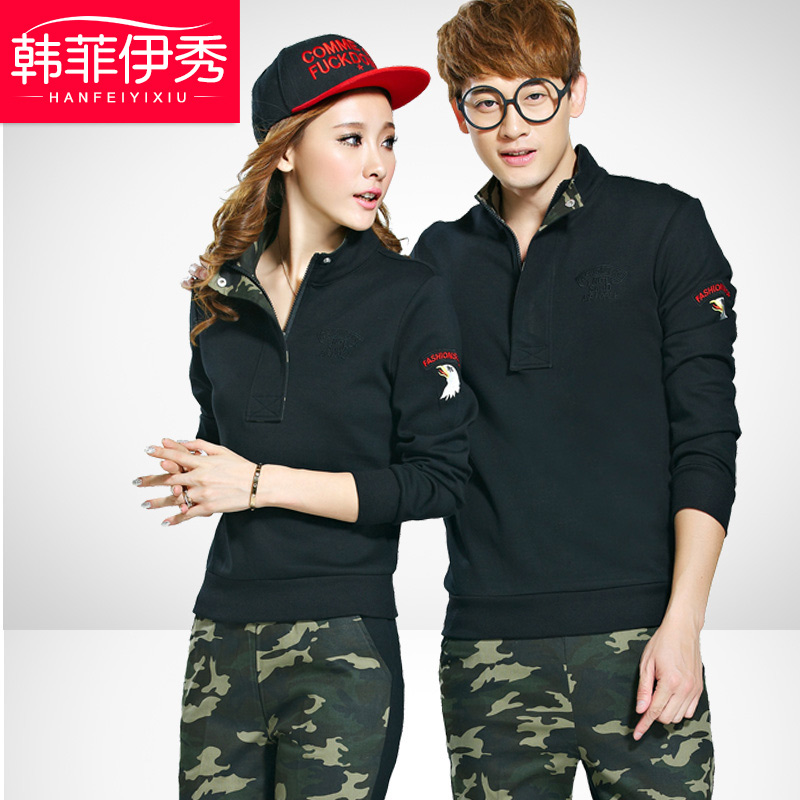 2016 new korean version of the fall and winter lovers casual clothes sports suit large yards camouflage sweater plus thick velvet grip