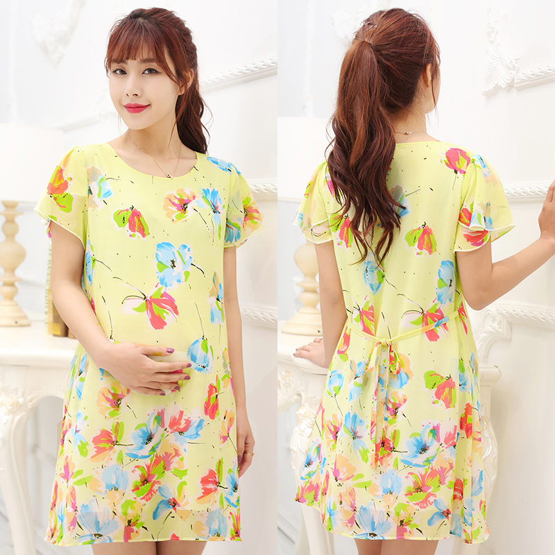2016 new korean version of the maternity tianxi summer chiffon maternity dress pregnant women pregnant shirt printing round neck short sleeve summer