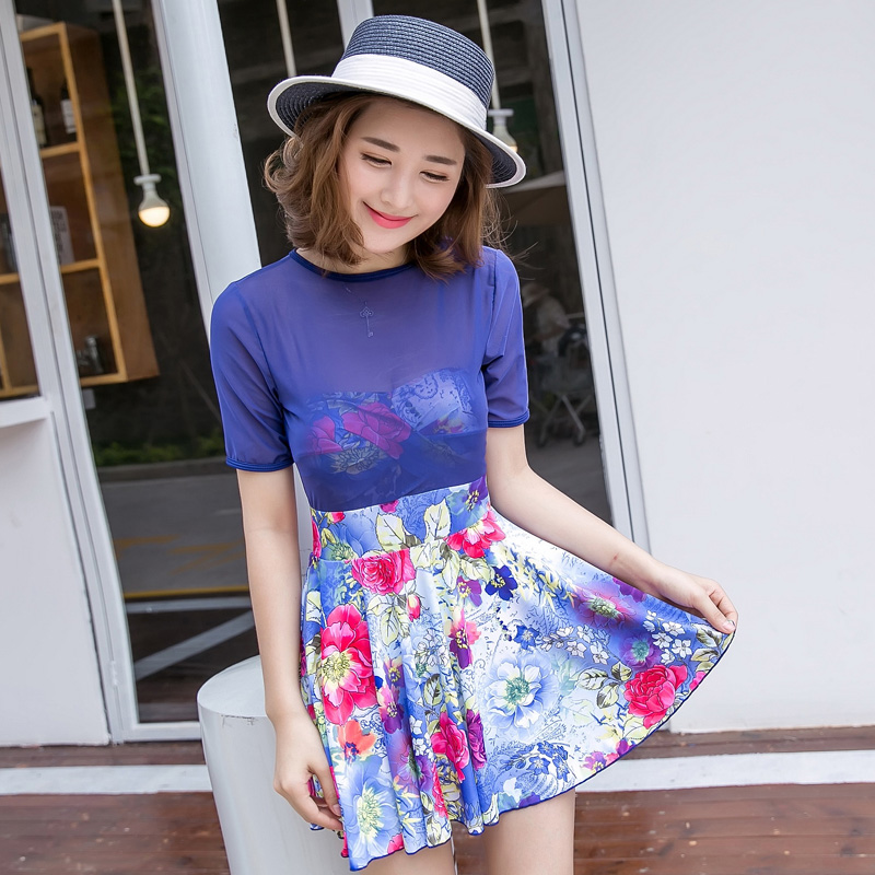 2016 new korean version of the swimsuit female siamese boxer swimsuit skirt big yards conservative skirt swimsuit cover the belly was thin hot springs bathing suit