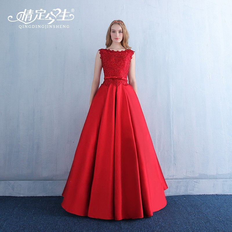 2016 new large size summer short paragraph bride toast clothing moderator dress banquet evening dress red long section of repair the body