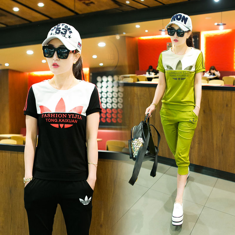2016 new large size women students jogging suit sportswear suit short sleeve t-shirt casual piece female summer tide