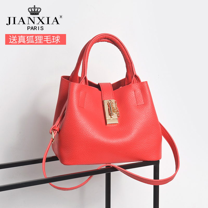 2016 new lock bag ladies leather handbags leather handbag bucket bag multi bag shoulder messenger bag