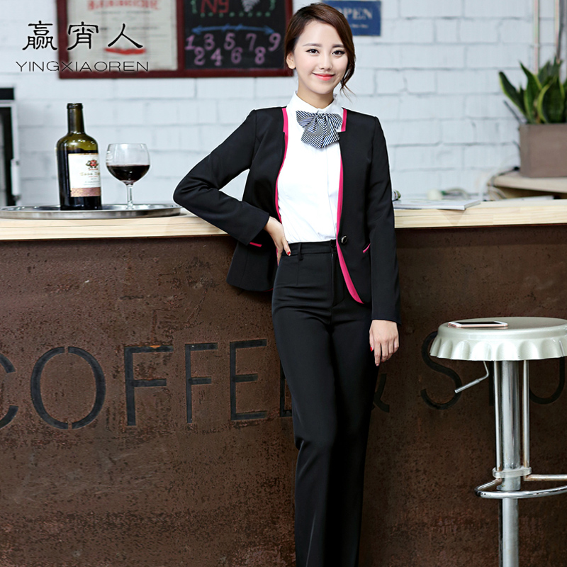 2016 new men's wear suits korean slim suits chaps ol wear dress suits cashier sleeved uniforms female