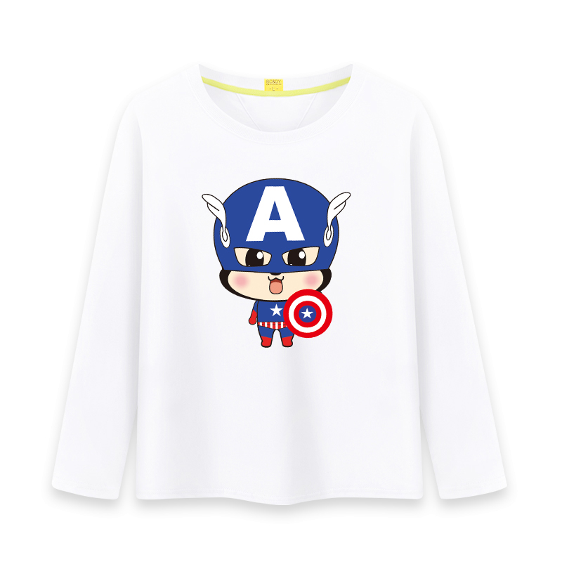 2016 new monkey series of children's long sleeve autumn round neck t-shirt for boys and girls cartoon t-shirt captain america