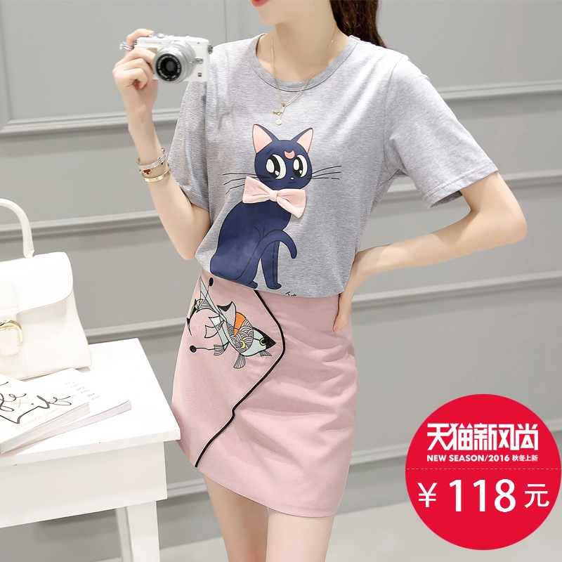 2016 new piece skirt suit female summer short sleeve t-shirt korean version of slim was thin short skirt suit summer dress