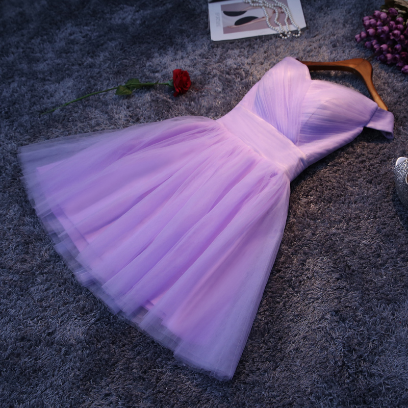 2016 new purple bridesmaid dress short paragraph bride wedding word shoulder slim short paragraph evening dress bridesmaid dresses mission