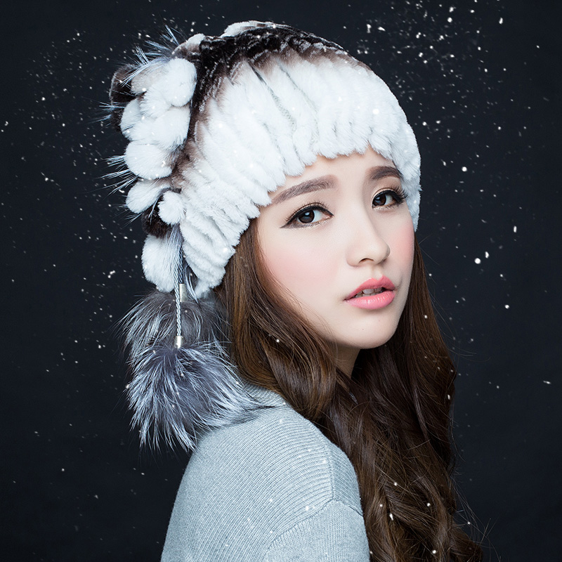2016 new rex rabbit fur hat female winter hat female korean cute knit hat fur hat lady