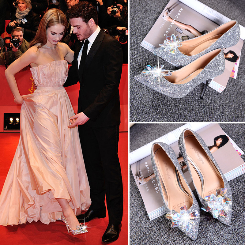 2016 new shoes sequined pointed princess bride crystal rhinestone high heels women shoes wedding shoes heels nightclub