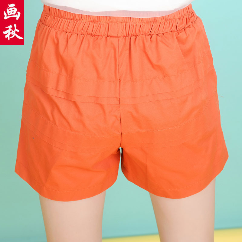2016 new shorts shorts female summer korean version of the waist elastic waist wide leg pants a word loose casual white shorts pants wide