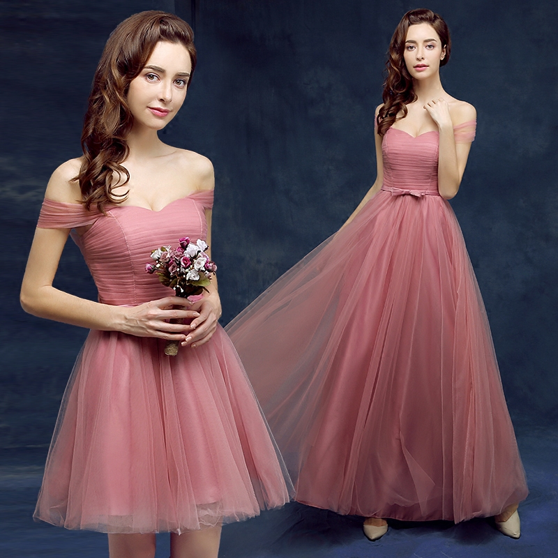 2016 new spring and summer banquet toast the bride dress short paragraph the word shoulder wedding dress evening dress long section of korean women summer