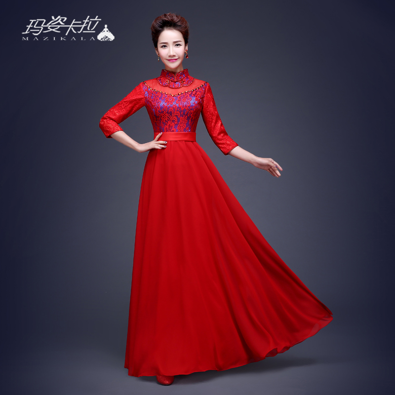 2016 new spring and summer dress bride toast clothing cheongsam dress lace long section of chinese cheongsam wedding toast clothing retro dress
