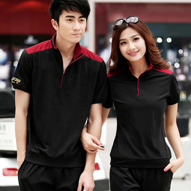 2016 new spring and summer short sleeve sports suit breathable sportswear for men and women korean version of large size small yards lovers
