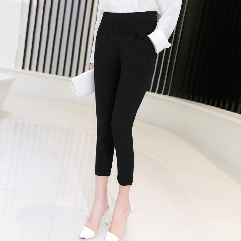 2016 new spring and summer thin section harem pants cropped pants pants black pants feet korean yards was thin female casual pants