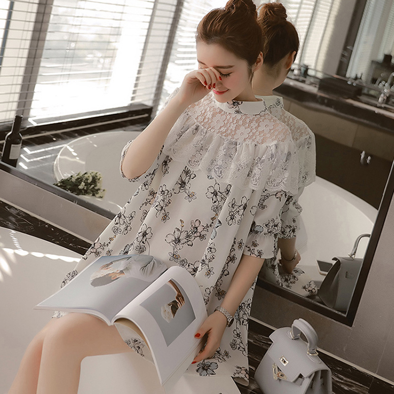 2016 new spring korean pregnant women pregnant shirt printing stitching lace sleeve summer season dress for pregnant women