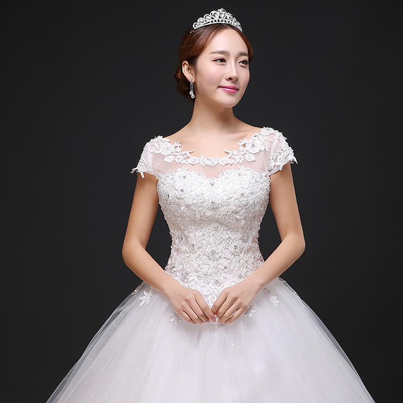 2016 new spring lace wedding dress bride wedding word shoulder slim korean qi was thin tutu