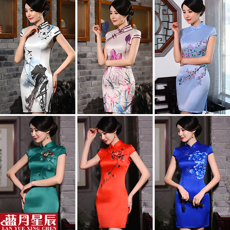 2016 new summer daily cheongsam dress short paragraph improved retro fashion slim daily cheongsam dress summer dress women