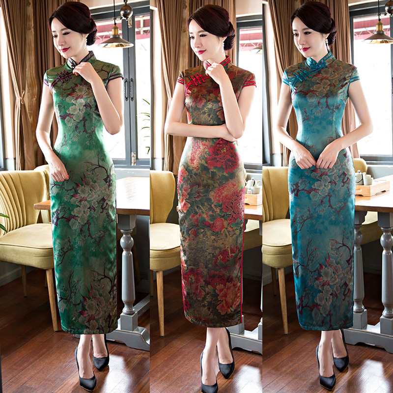 2016 new summer fashion improved cheongsam dress long section of double silk cheongsam cheongsam dress slim was thin