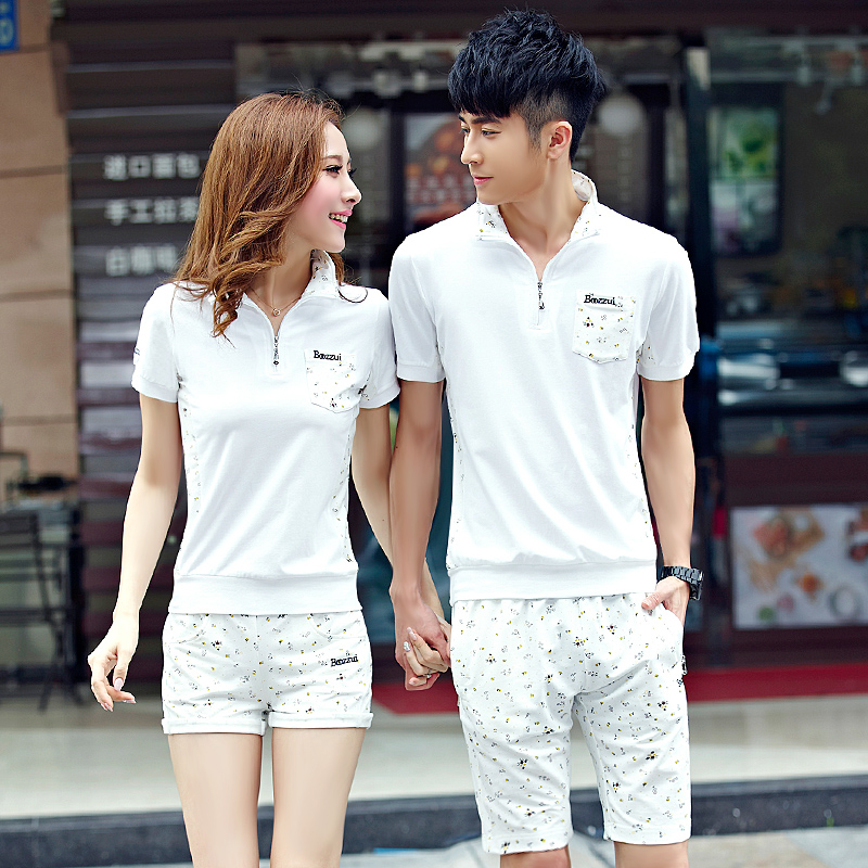 2016 new summer lovers men's short sleeve shorts sports suit summer korean leisure sports suit female summer