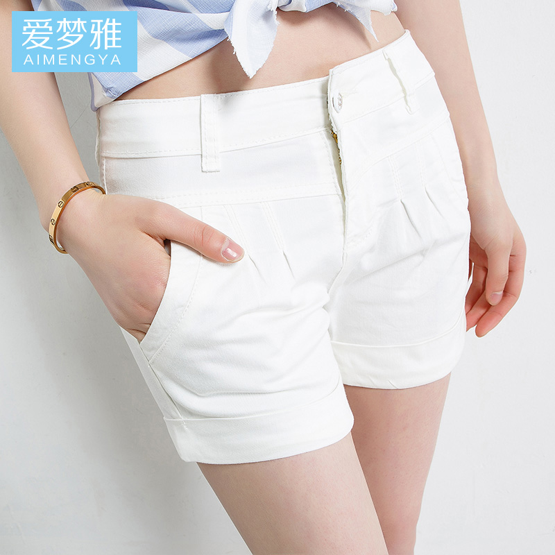 2016 new summer shorts female korean candy colored shorts casual pants big yards slim white short pants suit
