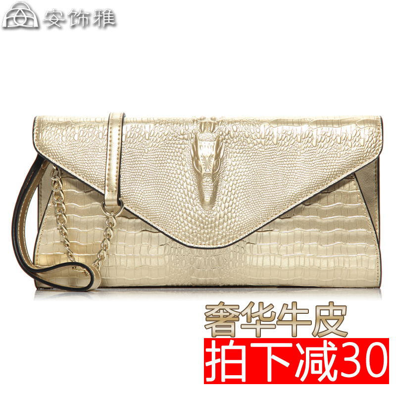 2016 new wave of female leather clutch shoulder messenger bag crocodile pattern leather handbags brand handbags small bag