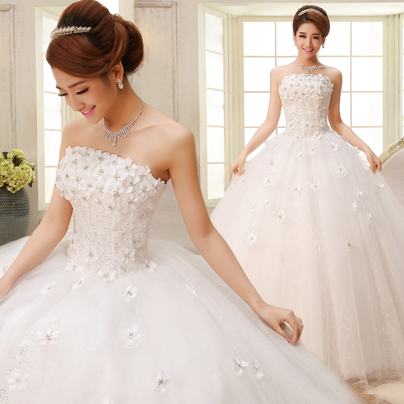 2016 new wedding dress bride wedding flowers bra straps qi korean wedding dress was thin slim