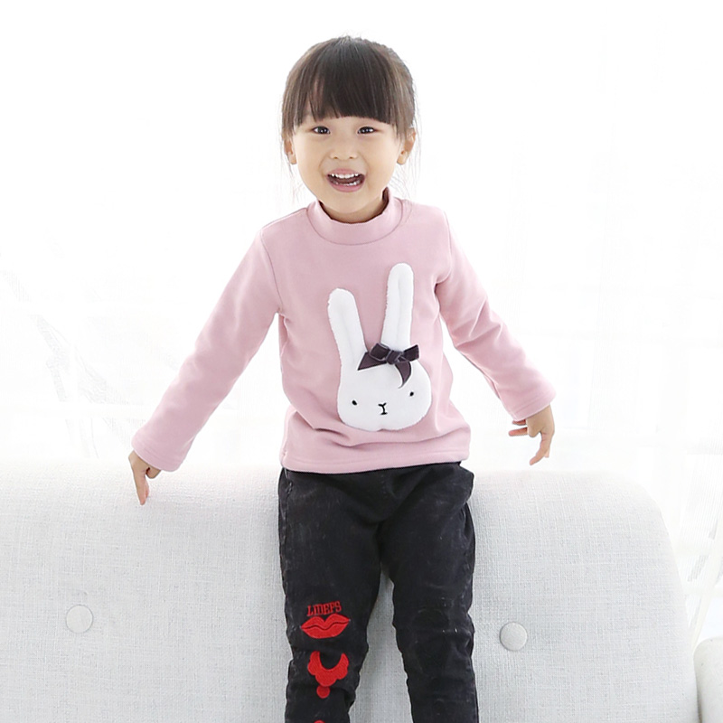2016 new winter children's clothing girls t-shirt korean version of casual wild cute little bunny girls plus velvet coat