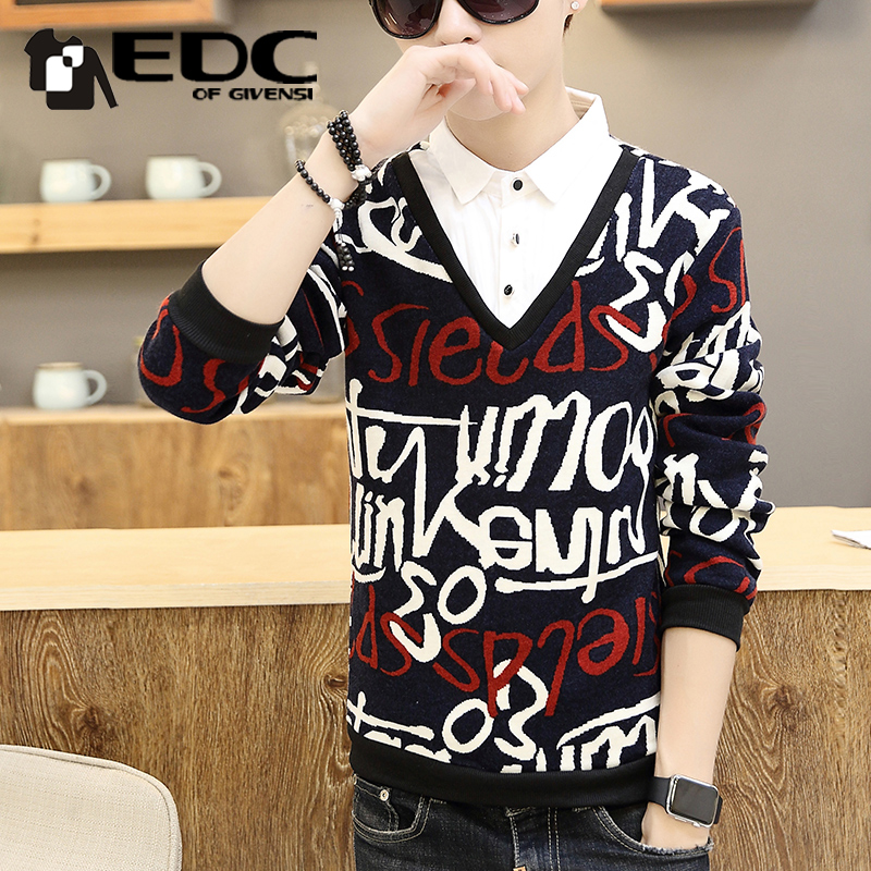 2016 new winter plus thick velvet sweater tide male korean fake two men sweater needle woven shirt youth