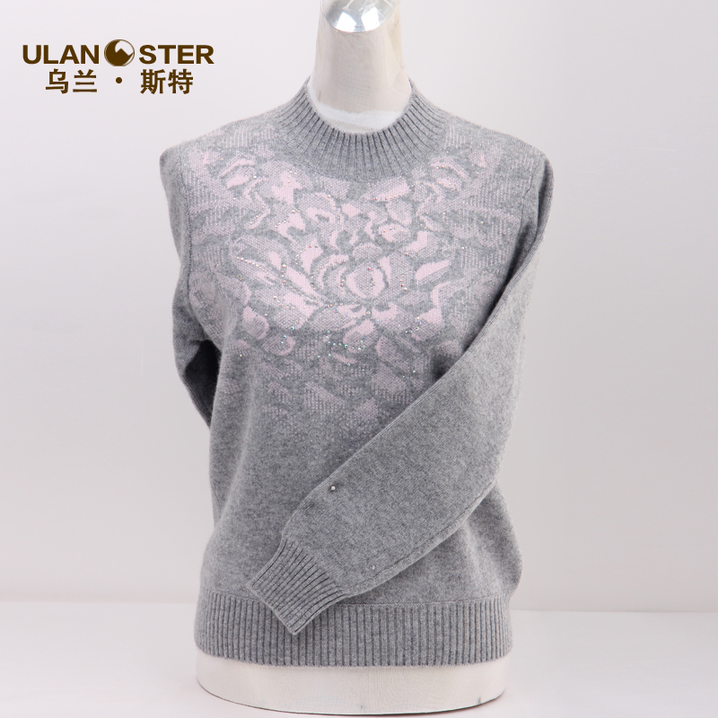 2016 new women's winter middle-aged mother dress cashmere sweaters women's cashmere sweater and a half high round neck collar hedging