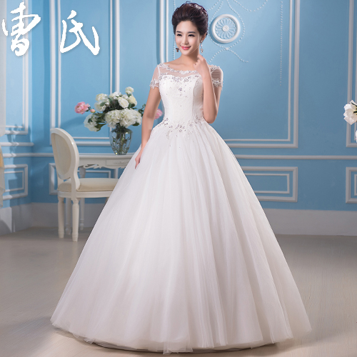 2016 new word shoulder princess lace straps qi korean version of the bride wedding custom wedding dress autumn and winter