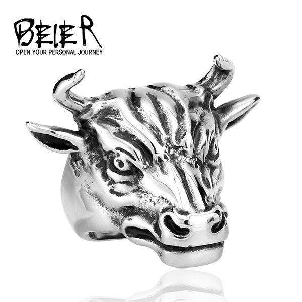 2016 new zodiac bull ring retro men's domineering personality titanium steel rings fashion jewelry with the influx of creative