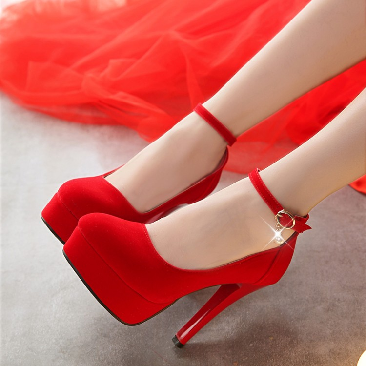 2016 sexy fine with suede shoes red bridal shoes with high heels shallow mouth round mother shoes single shoes spring