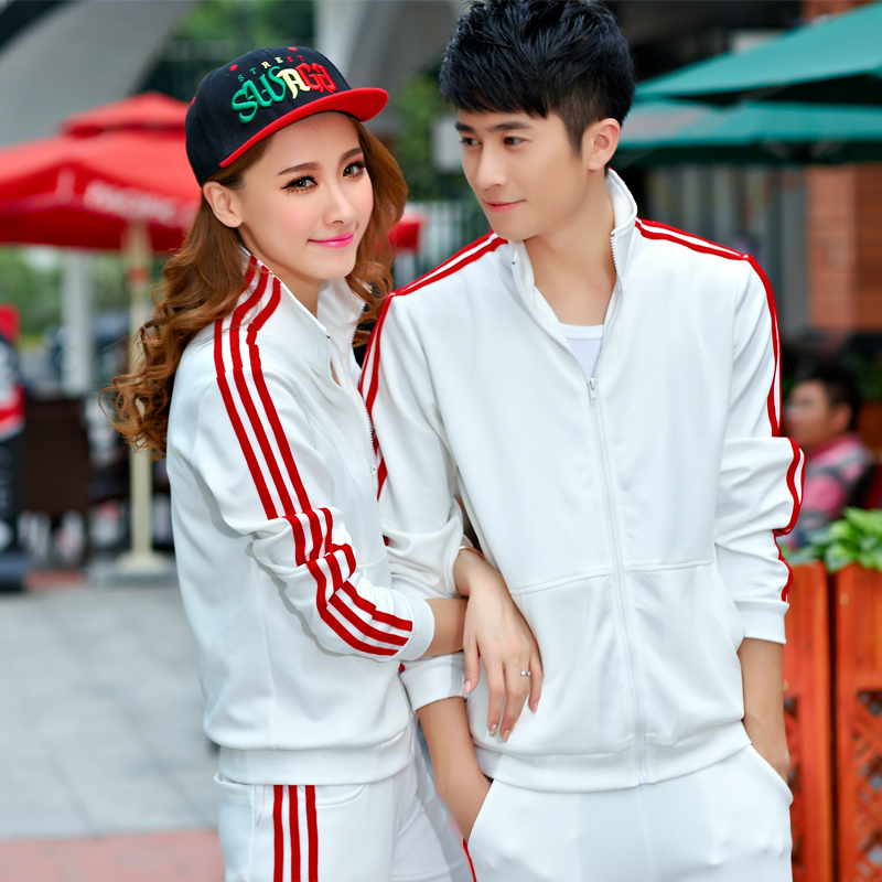 2016 spring and autumn casual sports lovers korean version of the classic men and women in south korea silk sportswear suit fashion hundred towers