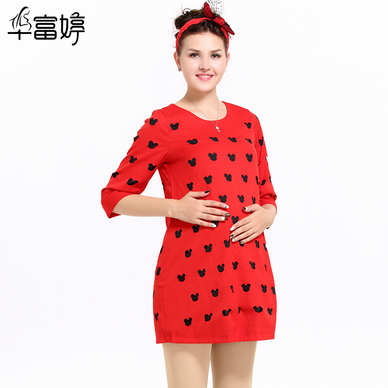 2016 spring and autumn fashion maternity pregnant korean version of winnie the red dress burning flowers round neck dress freaky pregnant women skirt tide
