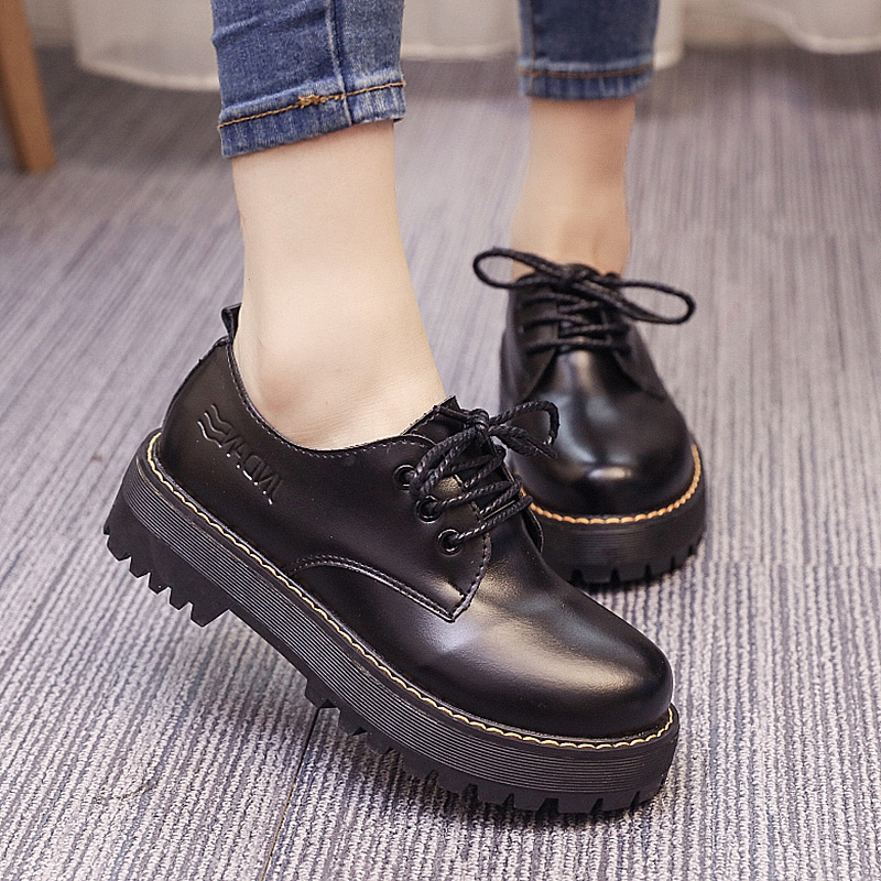 2016 spring and autumn lace round lace student korean version of college wind small leather shoes black shoes women shoes wild