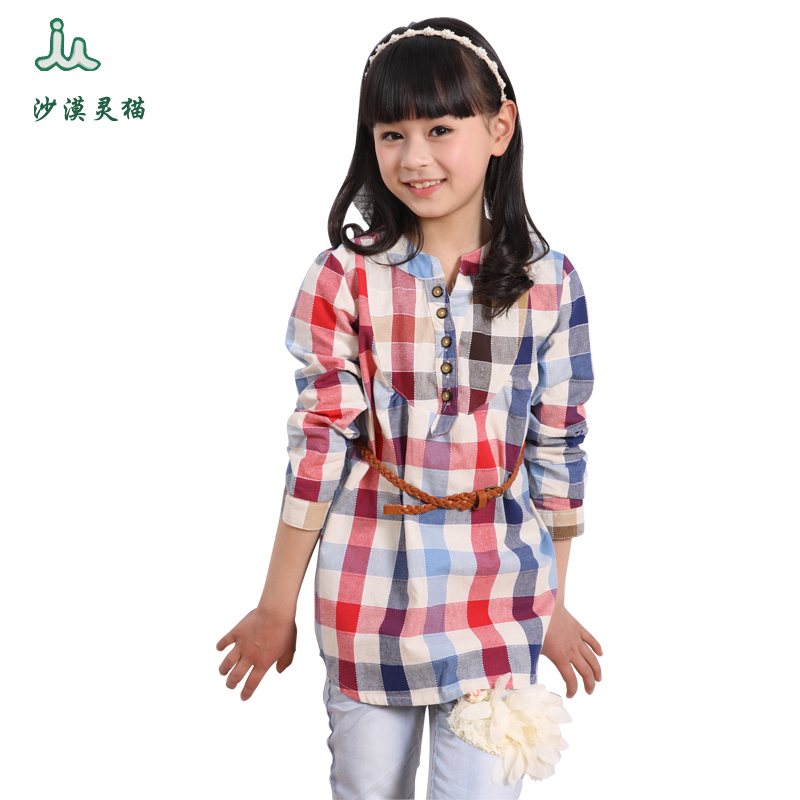 2016 spring and autumn new children's clothing girls long sleeve shirt children korean version of casual plaid shirt and long sections
