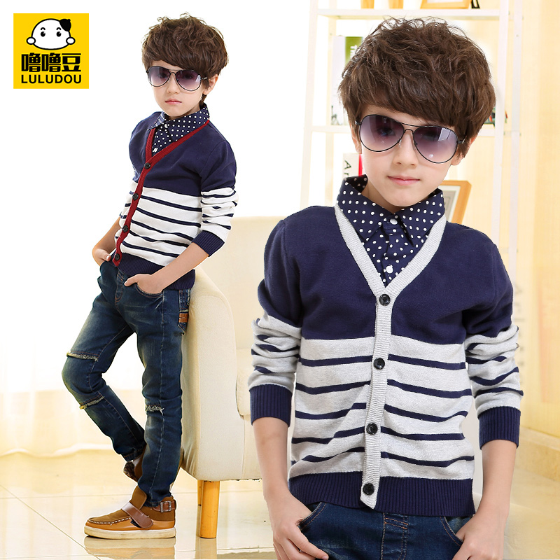 2016 spring and autumn new children's clothing v-neck cardigan sweater korean boy big virgin child sweater coat tide